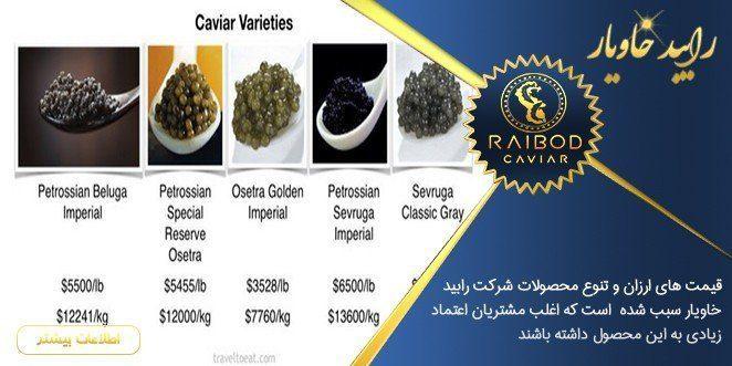 انواع خاویار تولید ایران