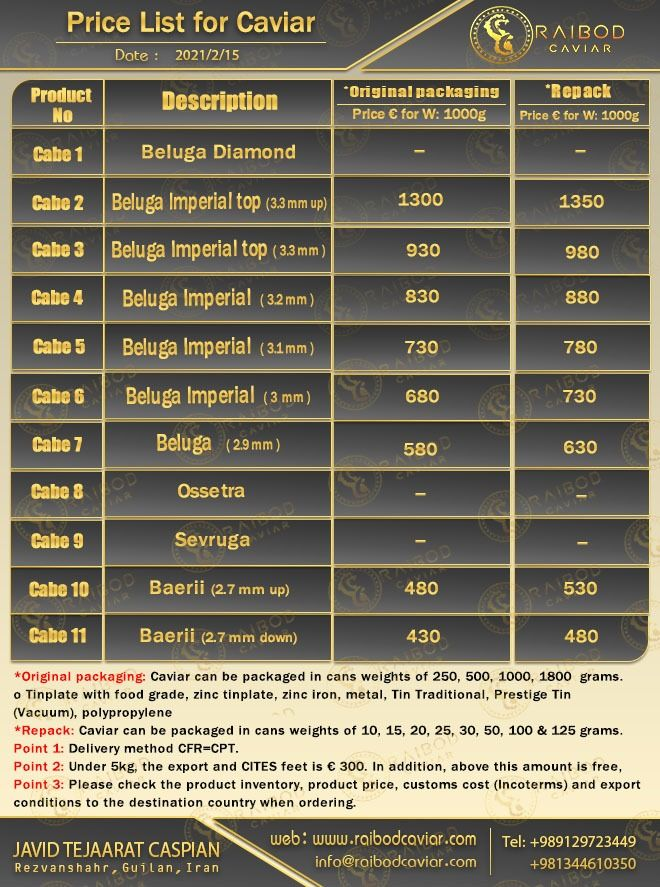 لیست قیمت خاویار صادراتی