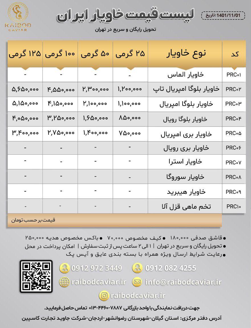 لیست قیمت خاویار رایبد خاویار